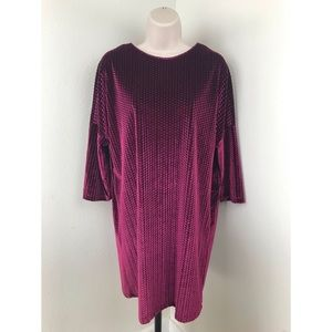ZARA Magenta Velvet Shift Dress
